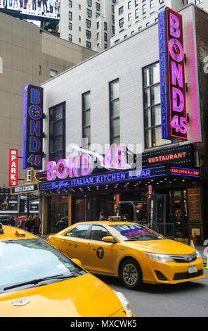 Bond 45 Italian Kitchen and Bar Sign is on West 46th Street in Times Square, NYC, USA - Stock Photo