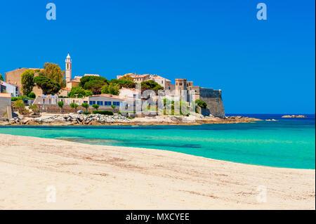 Beach and Coastline of Algajola, Corsica, France - Stock Photo