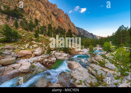 Mountain Stream in Central Corsica, France around sunset - Stock Photo