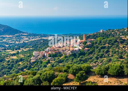Village of Sant'Antonino in Corsica France - Stock Photo
