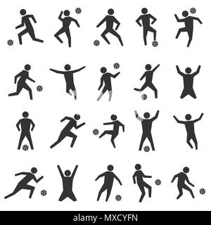 Set of stick figures. Black silhouettes of football players on a white background in various poses and positions with ball. Flat icons people, vector  - Stock Photo