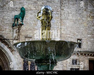 Fountain Fontana Maggiore on Piazza IV Novembre in Perugia, Umbria Italy - Stock Photo