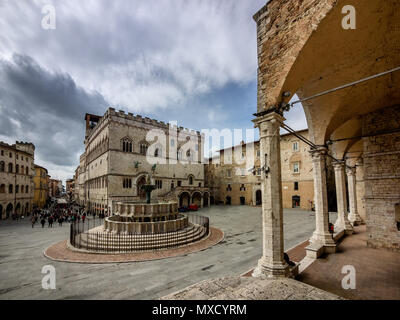 Piazza IV Novembre and Fontana Maggiore in Perugia, Umbria Italy - Stock Photo