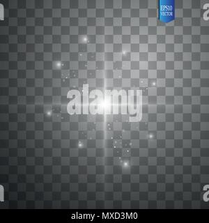 Glow isolated white transparent light effect set, lens flare, explosion, glitter, line, sun flash, spark and stars. Abstract special effect element design - Stock Photo