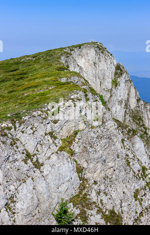 Amazing view of summit Trem and it's massive rocky cliff on Dry mountain in Serbia near the city of Nis and a clear, blue sky - Stock Photo