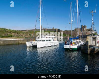 Catamaran and fishing boats moored in Peel Marina with imposing castle on St Patrick's Isle behind Isle of Man on lovely May day weather with clear bl - Stock Photo