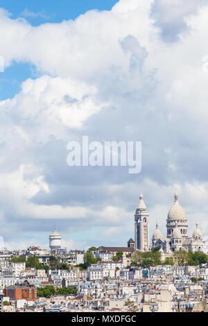 Paris, France, May 20, 2015: Basilique du Sacre Cour, Basilica of the Sacred Heart on Montmartre - Stock Photo
