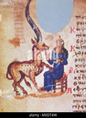 . English: A virgin with unicorn. Chludov Psalter. Damaged folio with missed miniature . middle of 9c.. anonimous 128 Chludov unicorn - Stock Photo