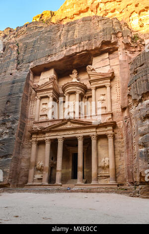 The Treasury at sunrise in the Lost City of Petra, Jordan - Stock Photo