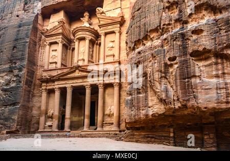 The Treasury at sunrise in the Lost City of Petra, Jordan - Stock Photo