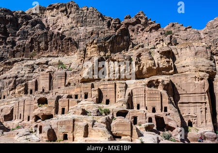 Street of facades in the Lost City of Petra, Jordan - Stock Photo