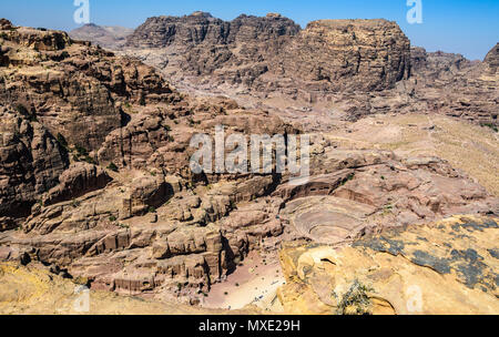 Aerial view of the Roman Theater and Street of Facades in the Lost City of Petra, Jordan - Stock Photo