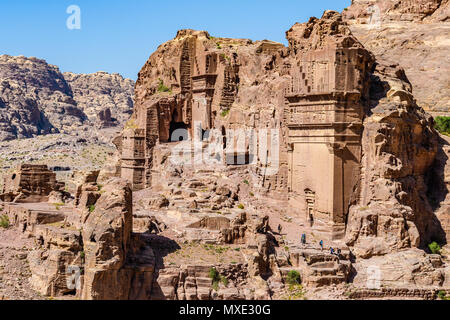 Tomb ruins in the Lost City of Petra, Jordan - Stock Photo