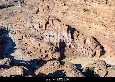 Aerial view of the Royal Tombs in the Lost City of Petra, Jordan - Stock Photo