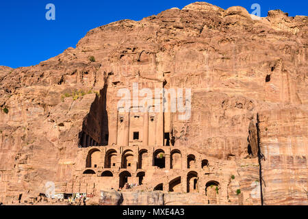 Royal Tombs in the Lost City of Petra, Jordan - Stock Photo