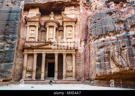 The Treasury at sunset in the Lost City of Petra, Jordan - Stock Photo