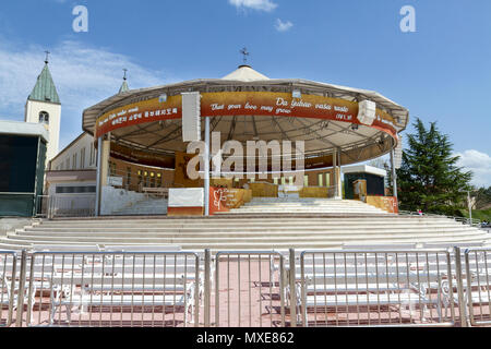 The outdoor altar to the Saint James church in Međugorje (or Medjugorje), Federation of Bosnia and Herzegovina. - Stock Photo