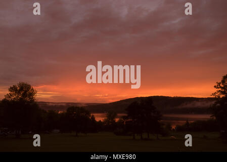 Golden Sky over Keuka Lake - Stock Photo