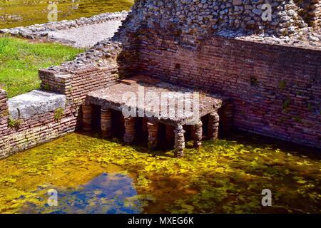 Roman hypocaust at Butrint. - Stock Photo