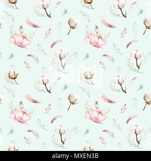 Watercolor seamless floral pattern with cotton. Bohemian natural patterns: leaves, feathers, flowers, Isolated on white background. Artistic decoratio - Stock Photo