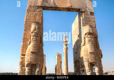 Gate of all nations at the Ancient city Persepolis was once the capital of the Achaemenid empire and is now UNESCO heritage. The site can be found nea - Stock Photo