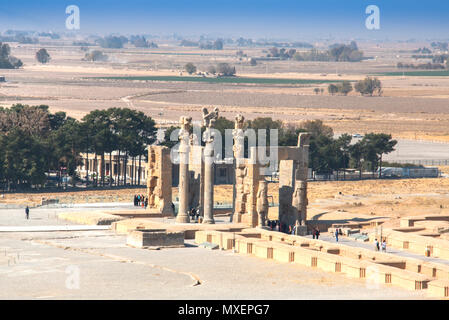 PERSEPOLIS, IRAN - NOVEMBER 2017: Gate of all nations at the Ancient city Persepolis was once the capital of the Achaemenid empire and is now UNESCO h - Stock Photo