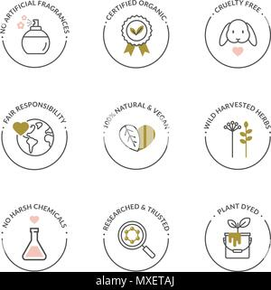 Vector set of elegant line icons for natural cosmetics packaging - organic product, not tested on animals. - Stock Photo
