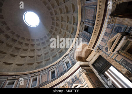 Rome Pantheon interior, light true the hole on dome, achitecture, Italy - Stock Photo