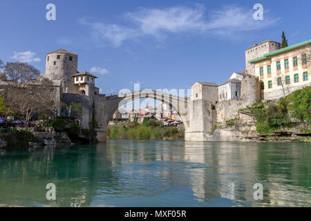 The historic Stari Most (Old Bridge) over the Neretva river in Mostar, the Federation of Bosnia and Herzegovina. - Stock Photo
