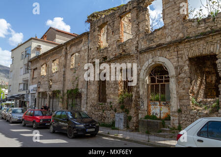 A Bosnian War (Homeland War) damaged building in Mostar, the Federation of Bosnia and Herzegovina. - Stock Photo