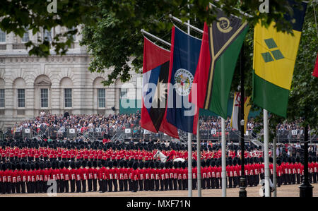 Panorama of Trooping the Colour ceremony at Horse Guards Parade to celebrate the Queen's birthday. Royal Guards stand to attention in lines. - Stock Photo