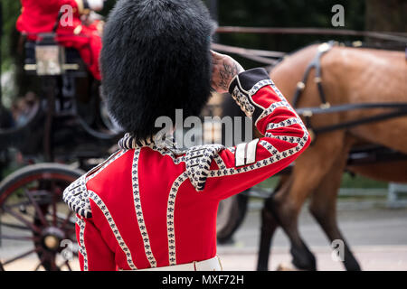 Irish Guard salutes as horse and carriage passes in front during the Trooping the Colour annual military ceremony, London UK - Stock Photo