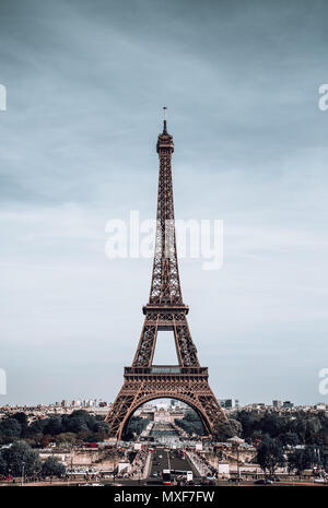 Vertical View on Eiffel Tower, Paris, France. - Stock Photo