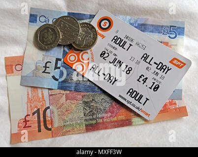 Glasgow Metro SPT Adult All-Day metro travelcard, with Scottish Sterling Notes Currency)- - Stock Photo