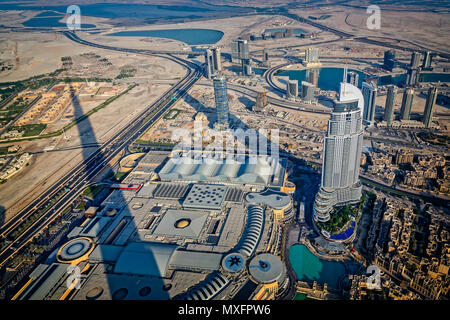 Cityscape view of skyscrappers from the Burj Khalifa including The Address taken in Dubai, UAE on 18 September 2013 - Stock Photo
