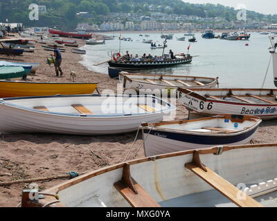 Boats on the beach and the ferry to Shaldon at Teignmouth, Devon, England. - Stock Photo
