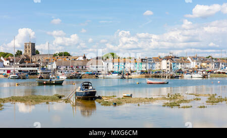Shoreham-By-Sea; 3rd June 2018; Landscape View of Town From Shoreham Beach Across the River Adur. Bright Sunny Day - Stock Photo