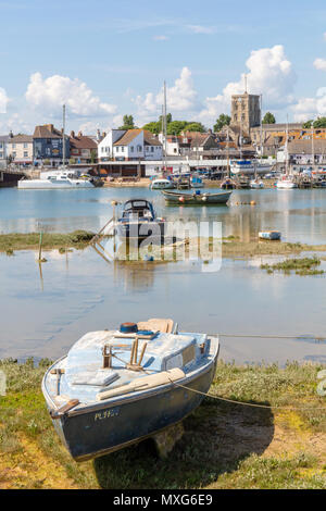Shoreham-By-Sea, UK; 3rd June 2018; Boats Moored on the River Adur - Stock Photo