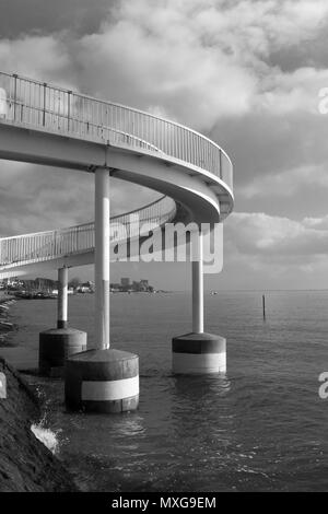 Black and white image of the footbridge at Leigh-on-Sea, near Southend-on-Sea, Essex, England - Stock Photo