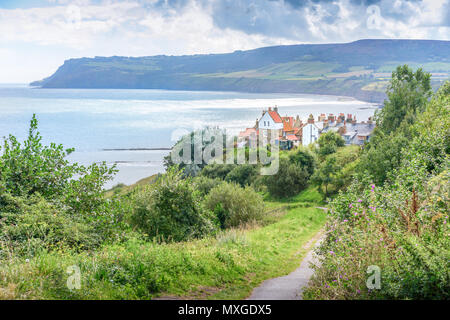 Looking down over Robin Hoods Bay, in North Yorkshire - Stock Photo