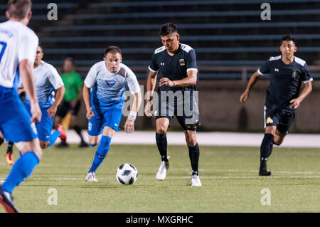June 3, 2018 - Fort Bragg, North Carolina, US - June 3, 2018 - Fort Bragg, N.C., USA - All-Army Soccer Sgt. Alan Ibarra (17) and All-Air Force Soccer 2nd Lt. Ryan Ward (6) in action during a first round match between the U.S. Army and U.S. Air Force at the 2018 Armed Forces MenÃ•s Soccer Championship, at Hedrick Stadium, on Fort Bragg. Air Force, the defending Armed Forces champions, defeated Army 2-1 in overtime. The Armed Forces MenÃ•s Soccer Championship is conducted every two years. (Credit Image: © Timothy L. Hale via ZUMA Wire) - Stock Photo