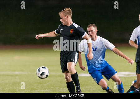 June 3, 2018 - Fort Bragg, North Carolina, US - June 3, 2018 - Fort Bragg, N.C., USA - All-Army Soccer 1st Lt. Alexander Clark (10) in action during a first round match between the U.S. Army and U.S. Air Force at the 2018 Armed Forces MenÃ•s Soccer Championship, at Hedrick Stadium, on Fort Bragg. Air Force, the defending Armed Forces champions, defeated Army 2-1 in overtime. The Armed Forces MenÃ•s Soccer Championship is conducted every two years. (Credit Image: © Timothy L. Hale via ZUMA Wire) - Stock Photo
