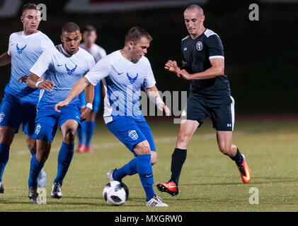 June 3, 2018 - Fort Bragg, North Carolina, US - June 3, 2018 - Fort Bragg, N.C., USA - All-Air Force Soccer 2nd Lt. Ryan Ward (6) and All-Army Soccer Staff Sgt. Joseph Karslo (3) in action during a first round match between the U.S. Army and U.S. Air Force at the 2018 Armed Forces MenÃ•s Soccer Championship, at Hedrick Stadium, on Fort Bragg. Air Force, the defending Armed Forces champions, defeated Army 2-1 in overtime. The Armed Forces MenÃ•s Soccer Championship is conducted every two years. (Credit Image: © Timothy L. Hale via ZUMA Wire) - Stock Photo