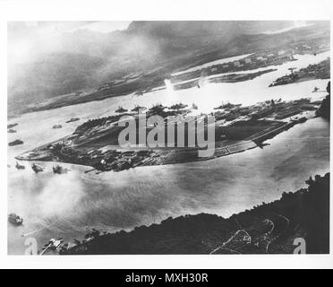 Original caption: Captured Japanese photograph. Photograph taken during the attack on Pearl Harbor, Dec. 7 1941. Photo courtesy of the U.S. National Archives and Records Administration. - Stock Photo