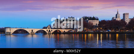 View of four surviving arches of Pont St-Benezet and Avignon Cathedral at sunset, France - Stock Photo