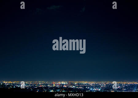 Night wide shot of Monterrey city, in Nuevo Leon, Mexico. The center of the city is displayed in this image. - Stock Photo