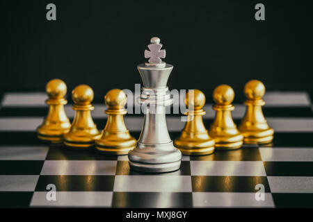Strategy chess battle Intelligence challenge game on chessboard. Success the strategy concept. Chess business leader and success idea. Chess strategy  - Stock Photo