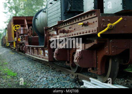 Beautiful renovated vintage railway-cars on display at train museum at Inchanga in Valley of 1000 hills, KwaZulu-Natal, South Africa - Stock Photo