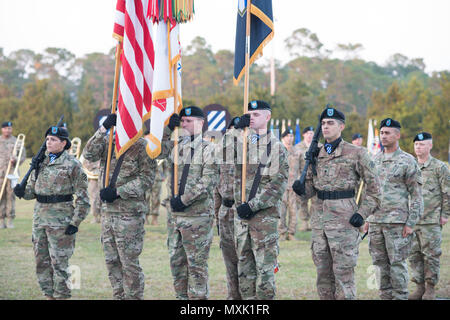 The 3rd Infantry Division color guard participates in the annual Twilight Tattoo during Marne Week at Fort Stewart Nov. 15, 2016. Twilight Tattoo is a ceremony honoring veterans and family members. (Photo by LTC Brian J. Fickel) - Stock Photo