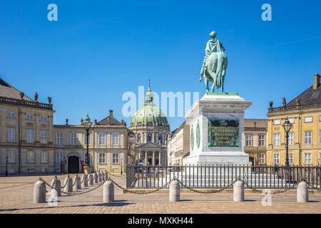 Amalienborg Palace in Copenhagen city, Denmark. - Stock Photo